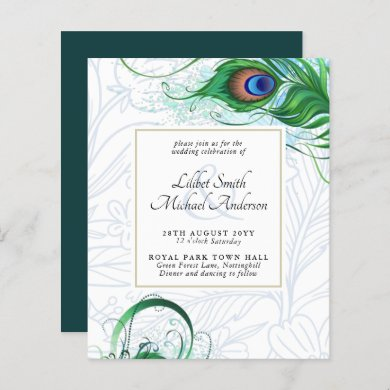 Elegant PEACOCK FEATHER Wedding Invite BUDGET