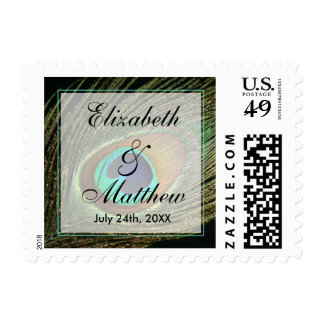 Elegant Peacock Feather Wedding Postage