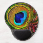 "Elegant Peacock Feather With Heart Shaped Eye Gel Mouse Pad<br><div class=""desc"">Get back to nature with this elegant bird theme gel mousepad that has a gold and turquoise peacock feather with a unique royal blue heart shaped eye.</div>"