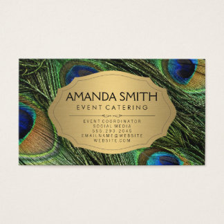Elegant Peacock Feathers Faux Metallic Gold Business Card