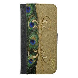 Elegant Peacock Feathers Golden Ornament Monogram iPhone 6/6s Plus Wallet Case