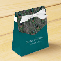 Elegant Peacock Feathers Personalized Wedding Favor Box