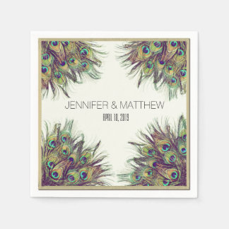 Elegant Peacock Feathers Personalized Wedding Paper Napkin