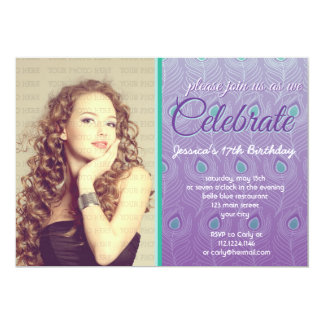 Elegant Peacock Feathers Photo Birthday Party 5x7 Paper Invitation Card