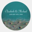 Elegant Peacock Feathers Round Wedding Favor Label