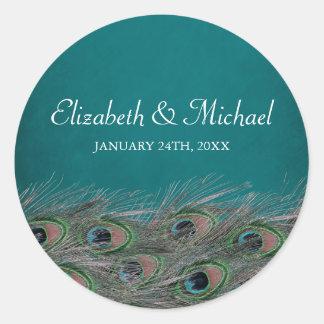 Elegant Peacock Feathers Round Wedding Favor Label Classic Round Sticker