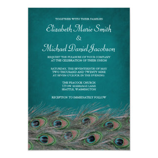 Elegant Peacock Feathers Wedding Invitation