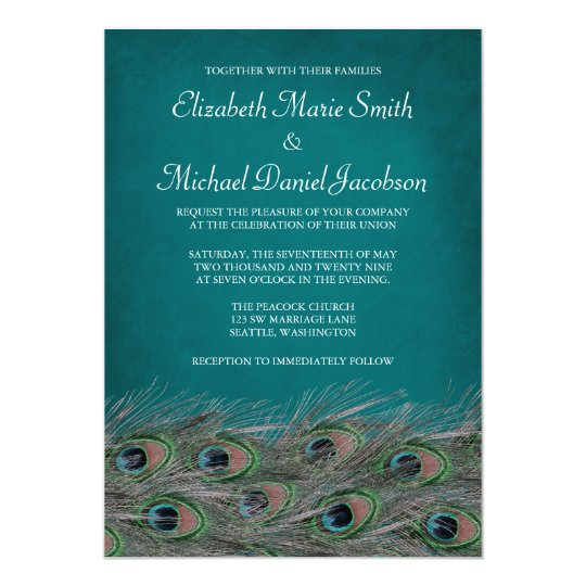 Elegant Peacock Feathers Wedding Invitation Zazzle Com