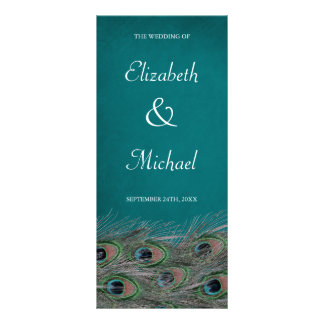Elegant Peacock Feathers Wedding Program Full Color Rack Card