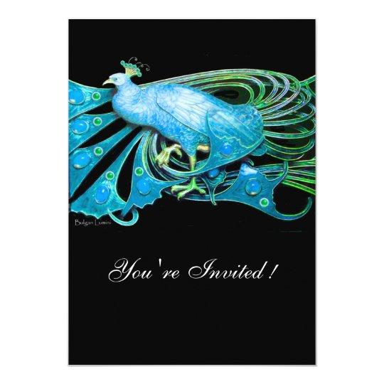 ELEGANT PEACOCK IN BLUE  BLACK TEAL WEDDING PARTY CARD