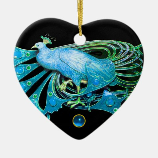 ELEGANT PEACOCK IN BLUE SAPPHIRE HEART CHRISTMAS TREE ORNAMENT