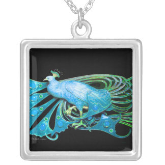 ELEGANT PEACOCK IN BLUE TURQUASE AND BLACK SILVER PLATED NECKLACE