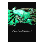 ELEGANT PEACOCK  IN GREEN AND BLACK PERSONALIZED INVITATIONS