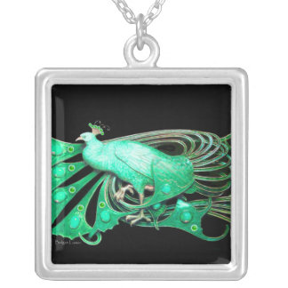 ELEGANT PEACOCK IN GREEN AND BLACK SILVER PLATED NECKLACE