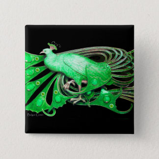 ELEGANT PEACOCK IN GREEN,BLACK BUTTON