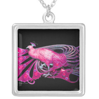 ELEGANT PEACOCK IN PINK, FUCHSIA AND BLACK SILVER PLATED NECKLACE