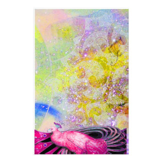 ELEGANT PEACOCK IN PINK,SPARKLING YELLOW PURPLE STATIONERY