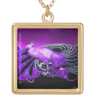 ELEGANT PEACOCK IN PURPLE AND BLACK GOLD PLATED NECKLACE