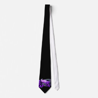 ELEGANT PEACOCK IN PURPLE AND BLACK NECK TIE