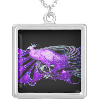 ELEGANT PEACOCK IN PURPLE AND BLACK SILVER PLATED NECKLACE