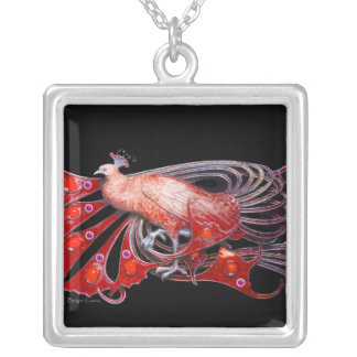 ELEGANT PEACOCK IN RED AND BLACK SILVER PLATED NECKLACE