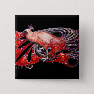ELEGANT PEACOCK IN RED,BLACK PINBACK BUTTON