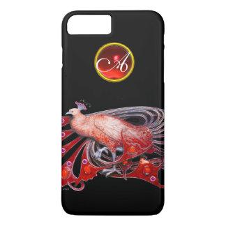 ELEGANT PEACOCK IN RED, RUBY MONOGRAM iPhone 8 PLUS/7 PLUS CASE