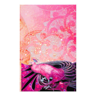 ELEGANT PEACOCK IN SPARKLING PINK FUCHSIA STATIONERY