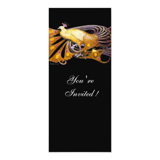 ELEGANT PEACOCK IN YELLOW AND BLACK CARD