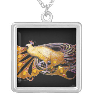 ELEGANT PEACOCK IN YELLOW AND BLACK SILVER PLATED NECKLACE