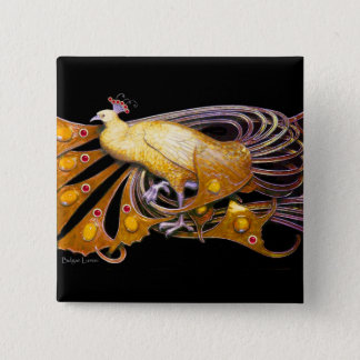 ELEGANT PEACOCK IN YELLOW,BLACK BUTTON
