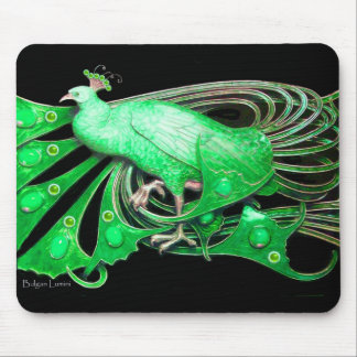 ELEGANT PEACOCK JEWEL IN EMERALD GREEN BLACK MOUSE PAD
