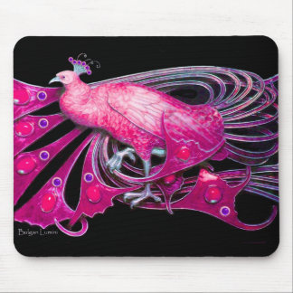 ELEGANT PEACOCK JEWEL IN PINK FUCHSIA BLACK MOUSE PAD