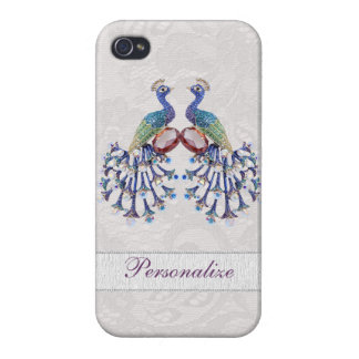 Elegant Peacock Jewels & Paisley Lace Print iPhone 4 Covers