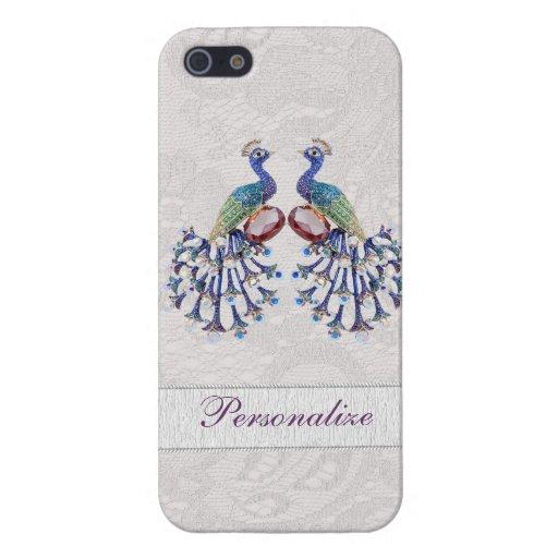 Elegant Peacock Jewels & Paisley Lace Print iPhone SE/5/5s Case