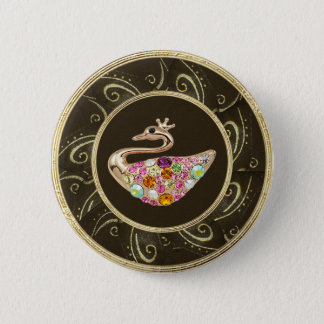 Elegant Peacock Jewels Photo Print Button