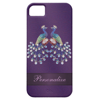 Elegant Peacock Jewels Print Purple Personalized iPhone SE/5/5s Case