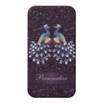 Elegant Peacock Jewels & Purple Glitter Print Cover For iPhone 4
