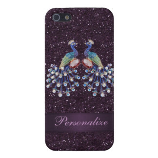 Elegant Peacock Jewels & Purple Glitter Print Cover For iPhone SE/5/5s