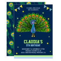 Elegant Peacock Kids Birthday Party Invitation