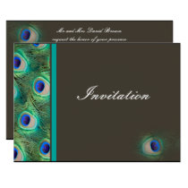 elegant peacock mocha blue wedding invitation