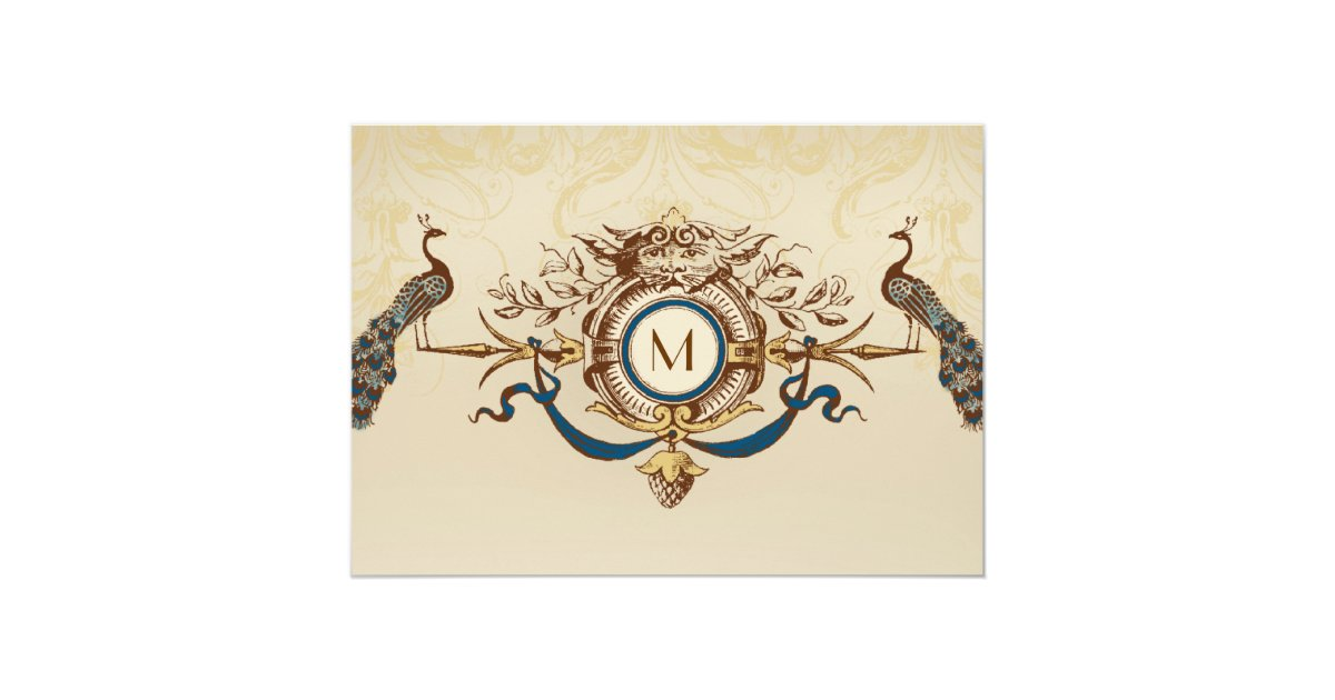 Elegant Monogram Wedding Invitations: Elegant Peacock Monogram Vintage Wedding Invites