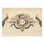 "Elegant Peacock Monogram Vintage Wedding Invites 5"" X 7"" Invitation Card"