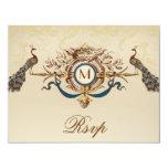 "Elegant Peacock Monogram Vintage Wedding RSVP Card 4.25"" X 5.5"" Invitation Card"