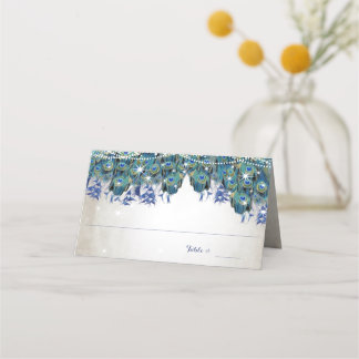 Elegant Peacock Navy Rustic Luxe Place Cards