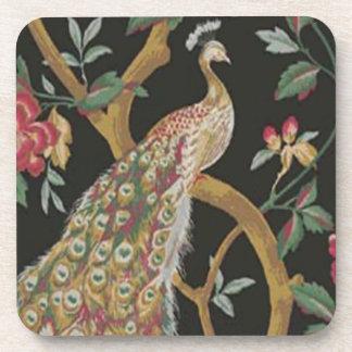 Elegant Peacock On Black Coasters