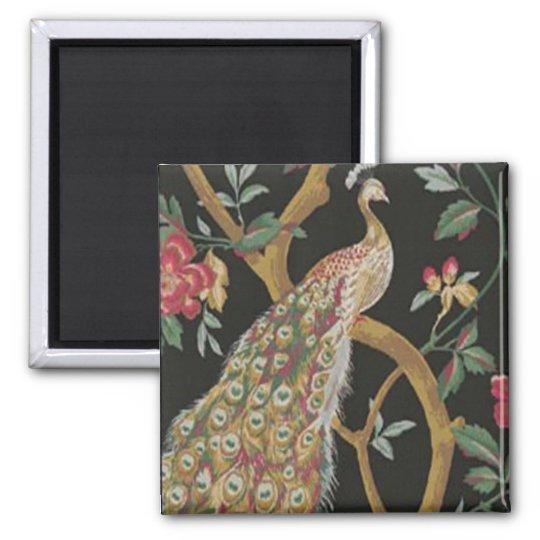 Elegant Peacock On Black Magnet