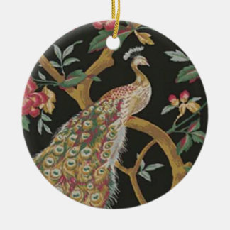 Elegant Peacock On Black Ornament