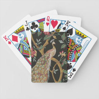 Elegant Peacock On Black Playing Cards