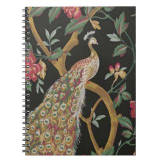 Elegant Peacock On Black Spiral Notebook
